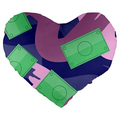 Money Dollar Green Purple Pink Large 19  Premium Flano Heart Shape Cushions by Alisyart