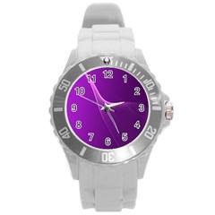 Purple Line Round Plastic Sport Watch (l) by Alisyart