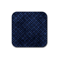 Woven2 Black Marble & Blue Stone (r) Rubber Square Coaster (4 Pack) by trendistuff
