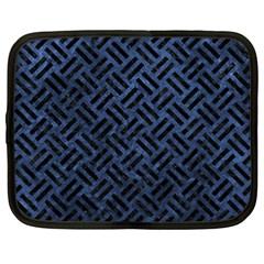 Woven2 Black Marble & Blue Stone (r) Netbook Case (xl) by trendistuff