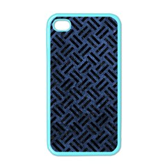 Woven2 Black Marble & Blue Stone (r) Apple Iphone 4 Case (color) by trendistuff