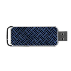 Woven2 Black Marble & Blue Stone (r) Portable Usb Flash (two Sides) by trendistuff
