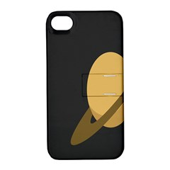 Saturn Ring Planet Space Orange Apple Iphone 4/4s Hardshell Case With Stand by Alisyart