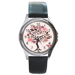Tree Butterfly Insect Leaf Pink Round Metal Watch by Alisyart