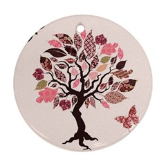 Tree Butterfly Insect Leaf Pink Ornament (round)