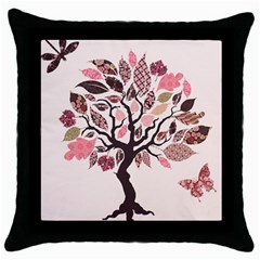 Tree Butterfly Insect Leaf Pink Throw Pillow Case (black) by Alisyart