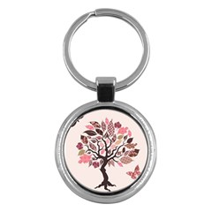 Tree Butterfly Insect Leaf Pink Key Chains (round)  by Alisyart