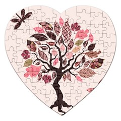 Tree Butterfly Insect Leaf Pink Jigsaw Puzzle (heart) by Alisyart