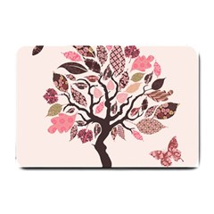 Tree Butterfly Insect Leaf Pink Small Doormat  by Alisyart
