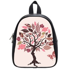 Tree Butterfly Insect Leaf Pink School Bags (small)  by Alisyart
