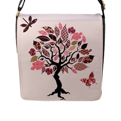 Tree Butterfly Insect Leaf Pink Flap Messenger Bag (l)  by Alisyart