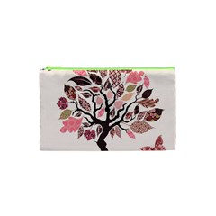 Tree Butterfly Insect Leaf Pink Cosmetic Bag (xs) by Alisyart