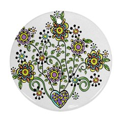 Frame Flower Floral Sun Purple Yellow Green Ornament (round)