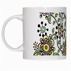 Frame Flower Floral Sun Purple Yellow Green White Mugs by Alisyart