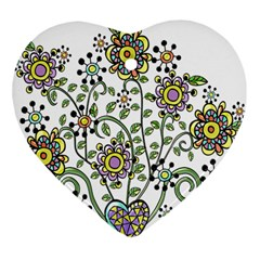 Frame Flower Floral Sun Purple Yellow Green Heart Ornament (two Sides) by Alisyart