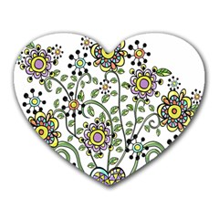 Frame Flower Floral Sun Purple Yellow Green Heart Mousepads by Alisyart