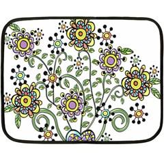 Frame Flower Floral Sun Purple Yellow Green Double Sided Fleece Blanket (mini)  by Alisyart