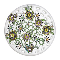 Frame Flower Floral Sun Purple Yellow Green Round Filigree Ornament (two Sides) by Alisyart