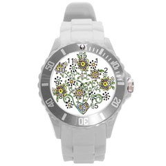 Frame Flower Floral Sun Purple Yellow Green Round Plastic Sport Watch (l) by Alisyart