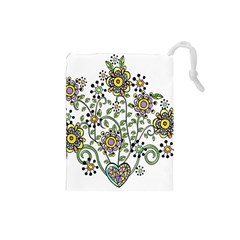 Frame Flower Floral Sun Purple Yellow Green Drawstring Pouches (small)  by Alisyart