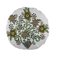 Frame Flower Floral Sun Purple Yellow Green Standard 15  Premium Flano Round Cushions by Alisyart