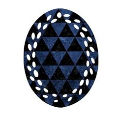 Triangle3 Black Marble & Blue Stone Ornament (oval Filigree) by trendistuff