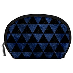 Triangle3 Black Marble & Blue Stone Accessory Pouch (large) by trendistuff