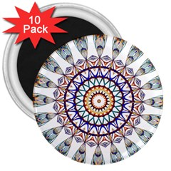 Circle Star Rainbow Color Blue Gold Prismatic Mandala Line Art 3  Magnets (10 Pack)