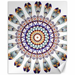 Circle Star Rainbow Color Blue Gold Prismatic Mandala Line Art Canvas 11  X 14   by Alisyart