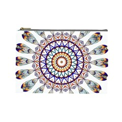 Circle Star Rainbow Color Blue Gold Prismatic Mandala Line Art Cosmetic Bag (large)  by Alisyart