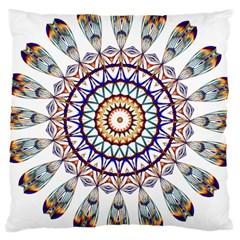 Circle Star Rainbow Color Blue Gold Prismatic Mandala Line Art Large Cushion Case (one Side) by Alisyart