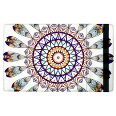 Circle Star Rainbow Color Blue Gold Prismatic Mandala Line Art Apple Ipad 3/4 Flip Case by Alisyart
