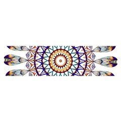 Circle Star Rainbow Color Blue Gold Prismatic Mandala Line Art Satin Scarf (oblong) by Alisyart