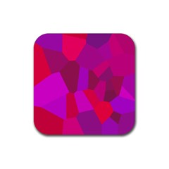 Voronoi Pink Purple Rubber Square Coaster (4 Pack)  by Alisyart