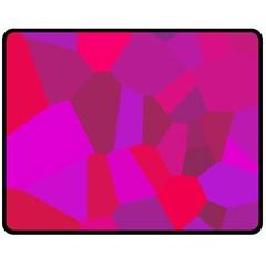 Voronoi Pink Purple Double Sided Fleece Blanket (medium)  by Alisyart