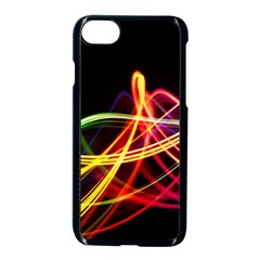 Vortex Rainbow Twisting Light Blurs Green Orange Green Pink Purple Apple Iphone 7 Seamless Case (black) by Alisyart