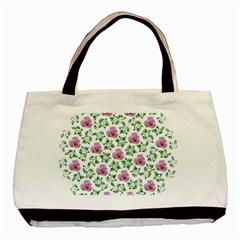Rose Flower Pink Leaf Green Basic Tote Bag by Alisyart