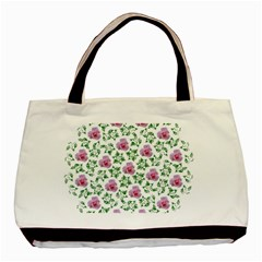 Rose Flower Pink Leaf Green Basic Tote Bag (two Sides) by Alisyart
