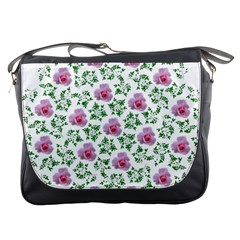 Rose Flower Pink Leaf Green Messenger Bags by Alisyart