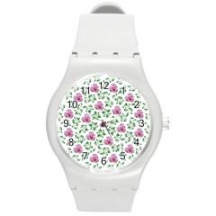 Rose Flower Pink Leaf Green Round Plastic Sport Watch (m) by Alisyart