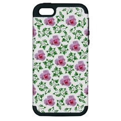 Rose Flower Pink Leaf Green Apple Iphone 5 Hardshell Case (pc+silicone) by Alisyart