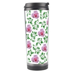 Rose Flower Pink Leaf Green Travel Tumbler by Alisyart