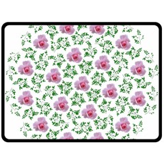 Rose Flower Pink Leaf Green Double Sided Fleece Blanket (large)  by Alisyart