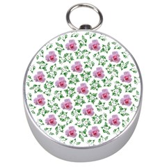 Rose Flower Pink Leaf Green Silver Compasses by Alisyart