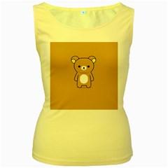 Bear Minimalist Animals Brown White Smile Face Women s Yellow Tank Top