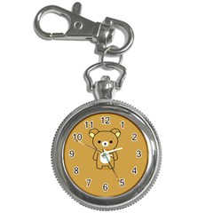 Bear Minimalist Animals Brown White Smile Face Key Chain Watches by Alisyart