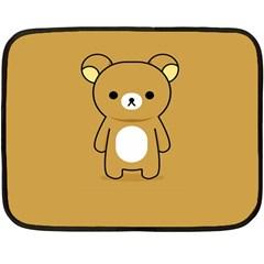 Bear Minimalist Animals Brown White Smile Face Double Sided Fleece Blanket (mini)  by Alisyart