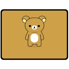 Bear Minimalist Animals Brown White Smile Face Fleece Blanket (large)  by Alisyart