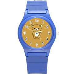Bear Minimalist Animals Brown White Smile Face Round Plastic Sport Watch (s) by Alisyart