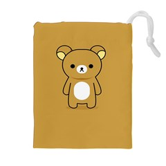 Bear Minimalist Animals Brown White Smile Face Drawstring Pouches (extra Large) by Alisyart